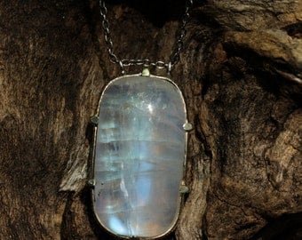 Moonstone pendant necklace with oxidized silver chain