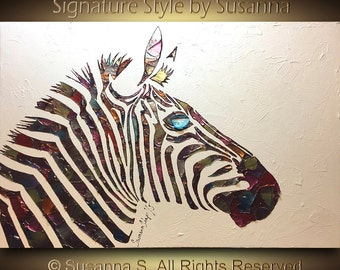 Original Zebra Painting metallic abstract painting animal art home decor multicolored texture palette knife oil painting 24x36 by Susanna