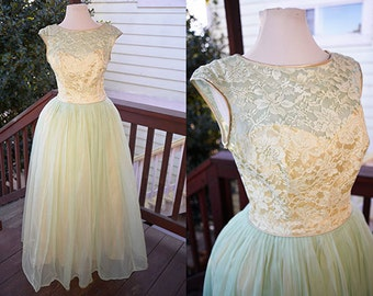 Dreamy Seafoam and Lace 1950s Ball Gown