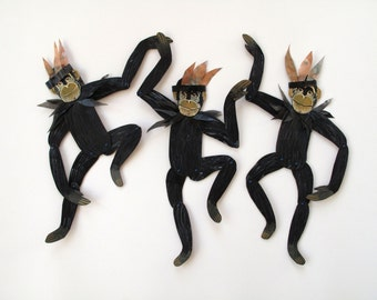 Black Chimps with Headress / Ape Articulated Decoration  / Hinged Beasts Series