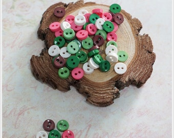 100 pcs Tiny MIni Round Buttons Mixed Color Supply - 2 holes - DIY Scrapbooking Doll Dress