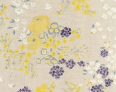 HALF YARD Kokka 2015 - Nani Iro En Garden MICHI colorway - Natural background Yellow Purple garden Jg10280-1D - Japanese Double Gauze