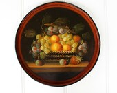 Hand Painted Wood Tray - Round Still Life - Fruit Basket - Rich Colors