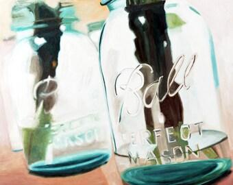 Ball Jar Art Print Mason Jar Kitchen Art Decor Glass Bottle  Realistic Ball Jar Painting Print of Original Artwork Fine Art Print Wall Art