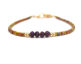 Purple Bracelet, Purple Crystal Beads, Seed Bead Bracelet, Friendship Bracelet, Iris Gold Beaded Bracelet, Minimal Bracelet, Hawaii Jewelry
