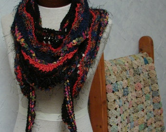 Scarf, Shawl, Handknit Wearable Art Scarf with Lace and Many Yarns and colors, Black, Red, Navy, Gold, Orange, Soft Scarf Shawl