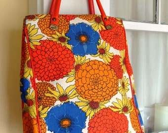 Vintage Bright Floral Cotton Tote Market Bag Purse Carryall