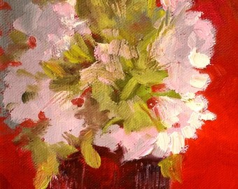 Flower Still Life Oil Painting, Original Square Format, 6x6 Stretched Canvas, White Floral, Red Background, Small Summer Blooms, Pink, Gray