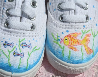 Fish Shoes, hand painted, kids size 7, toddler