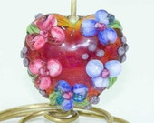 Clio Lampwork Heart Bead Focal with Pink and Light Blue and Dark Blue Flowers Green Leaves Purple Blossoms SRA