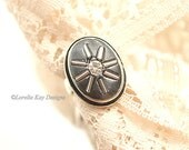 Starburst Ring Black Rhinestones Simple Elegnat Fine Silver Plated  Ring One of a kind