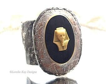 Eqyptian Pharoah Bracelet Soldered Cuff Antique Button Wearable Art Statement Bracelet