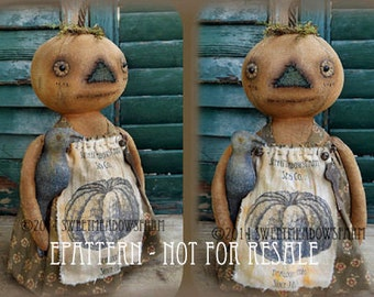 Pumpkin Stumpkin Primitive Pumpkin doll EPATTERN