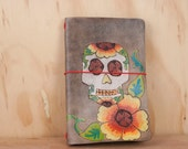 Travelers Notebook - Leather Moleskine Cover with Day of the Dead Sugar Skull and Flowers - Vesa Pattern