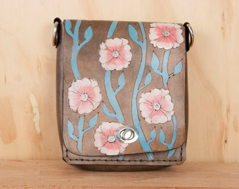 Purse - Handbag - Leather - Black Leather - Handmade Leather Purse in the Aurora Pattern - Flowers and vines in pink turquoise and black