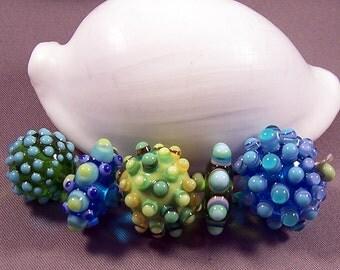 Handmade Lampwork Beads by Monaslampwork - Multi Colored Dots on Dots - Lampwork Glass Beads by Mona Sullivan Boho Organic Glass Beads