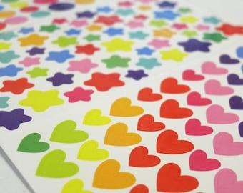 Make My Day! - Colorful Rainbow Stickers sheets – Hearts, Stars and Circles (1322) - Set of 3 sheets