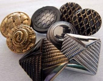 Destash Bargain Price Vintage Czech Black Lustred Glass Buttons - Glass Shank - Lot of 8