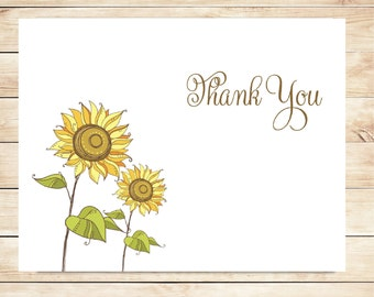 Sunflower Thank You Cards - Sunflower Stationery - Custom Sunflower Stationary