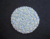 Dollhouse Miniature Round Braided Rug (Light Blue, Light Green and Cream)