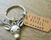 I Love You Deerly Keychain, Personalized with 1 name, deer head charm, boyfriend gift, I Love You Keychain, Deer keychain, Antlers keychain