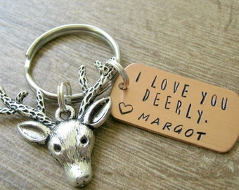 I Love You Deerly Keychain, Personalized with 1 name, deer head charm, boyfriend gift, I Love You Keychain, Deer keychain, Antlers keychain