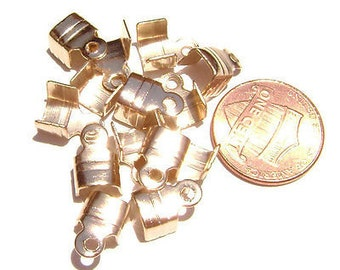 Cord Ribbon End Tip Fold Over Clasp Crimp Bead Stopper Rose Gold Raw Copper Large 10x6mm (5x5mm workspace)  - 100 Qty