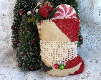 Vintage cutter quilt Christmas stuffed stocking ornament or package embellishment greenery pinecones red black beads