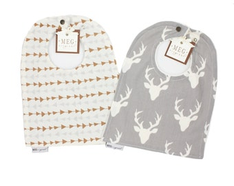 Archer Baby-to-Toddler Adjustable Snap Bib Set { Arrows & Deer } 8802