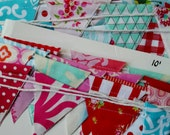 Sale. Long Mini Flag Bunting, Features Tiny Flags in a Mix of Happy Colors Designer Fabrics.  Ten feet of Red, Blue, Aqua and Pink flags.