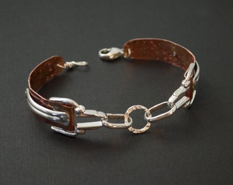 New Delicate Sterling Silver and Copper Bracelet