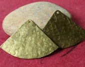 Hand hammered textured lightly antiqued solid brass drop dangle pendant size 42x30mm, 2 pcs (item ID LABXW03472H)