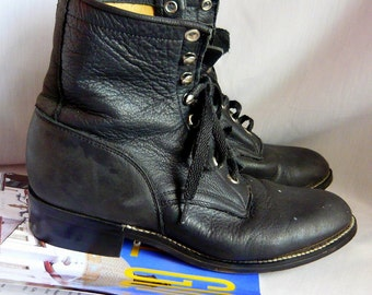 Vintage Leather Hightop Ankle Boots  JUSTIN Black womens size 4 Granny Combat Youth sz 2 .5 D Eu 34 UK 1 .5