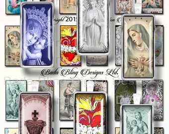 1 X 2, Catholic Prayer Cards &  Holy Cards,  INSTANT DOWNLOAD at Checkout,religious collage sheets, Catholic pendants,Holy Mother, Madonna