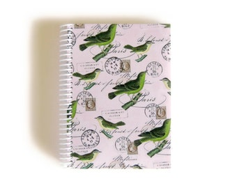 Green Birds on Pink Paper Pocket Cute Spiral A6 Notebook, Spiral Bound Writing Diary Journal, Back to School Blank Sketchbook Gifts Under 20