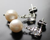 Pearl and CZ Earrings, White Pearl, Freshwater Pearl Earrings, Bridal Earrings, Classic Earrings, Evening Earrings,