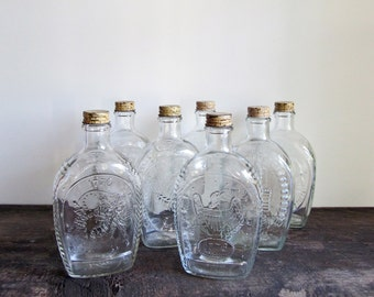 9 Vintage Log Cabin Clear Bottles With Cork Design Lids