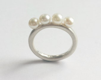 Minimalist Sterling Silver and Freshwater Four Pearl Engagement or Everyday  ring