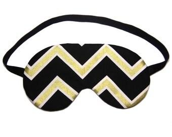 Metallic Gold Chevron on Black Sleep Eye Mask Sleeping Eye Mask