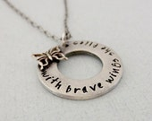 With Brave Wings She Flies Necklace - Butterfly Necklace - Inspirational Necklace - Hand Stamped Pewter Jewelry - Graduation Gift For Her