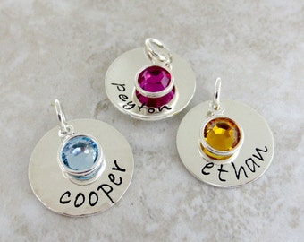 Personalized Name Charm, Add ON Name Birthstone Charm, Personalized Hand Stamped Jewelry, A La Carte, Sterling Silver Mommy Necklace Charm