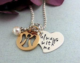 Always With Me Necklace - Angel Necklace - Guardian Angel Necklace - Memorial Necklace - Hand Stamped Jewelry - Bronze Angel Charm
