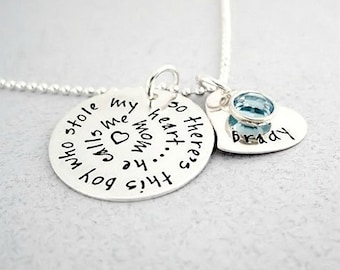 Personalized Necklace - So There's This Boy Who Stole My Heart - Personalized Mom Jewery - Handstamped Heart Charm - Birthstone Jewelry