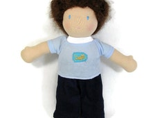 10 inch waldorf doll frog patch light blue knit top and blue corduroy pants, handmade doll clothes, Waldorf doll clothes
