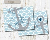 4x5 Custom Nautical Save the Dates // Set of 25 cards with white envelopes // Anchor Save the Date // White and Blue