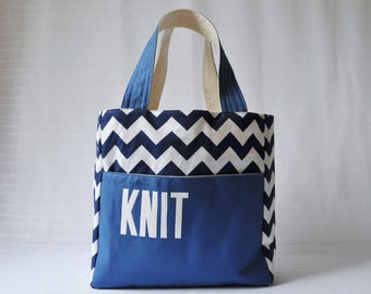 Stand Up Knitting Tote - Gift for Knitter - Knitting Bag - Gift for Mom - Gift for Grandma - Blue Chevron Bag - Canvas Tote - Christmas