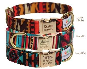 Personalized Aztec Dog Collar - Tribal, Navajo Dog Collar