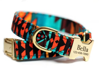 Engraved Aztec dog collar - Personalized Tribal Collar - Ring of Fire (Shown with optional Engraving)