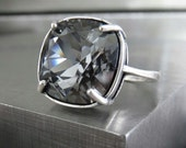Crystal Silver Night Ring, Black Diamond Swarovski Crystal Ring, Goth Gothic Ring Jewelry, Antique Silver Adjustable Cocktail Ring 4470