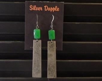 Green and metal earrings